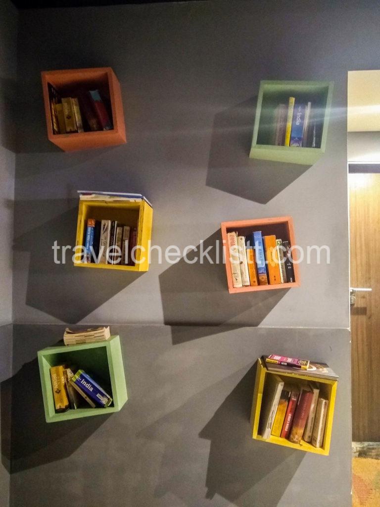 cute book shelfs in Backpacker Hostel-zostel